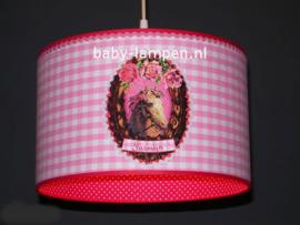 lamp kinderkamer 3x paard roze ruitjes fuchsia stipjes