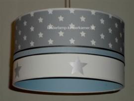 Lamp kinderkamer lichtblauw grijs en zilver