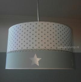 kinderlamp wit mintgroen zilver sterren