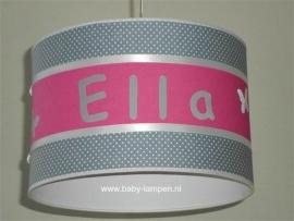 Meisjelamp met naam grijs witte stipjes effen fuchsia