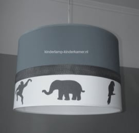 Lamp kinderkamer antraciet met olifant aapje