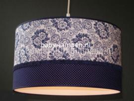 lamp meisjeskamer bloemen en stipjes donkerblauw