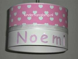 meisjeslamp met naam roze witte hartjes