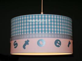 Lamp kinderkamer blauwe ruitjes stoer