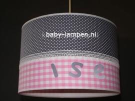 meisjeslamp grijs stipje roze ruitje met naam
