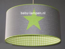 lamp kinderkamer grijs 3x limegroene ster