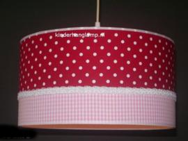 lamp meisjeskamer rode stip roze ruitje
