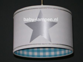 Lamp kinderkamer wit aquablauw zilver