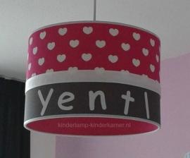 Meisjeslamp met naam antraciet fuchsia witte hartjes