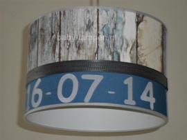 Lamp kinderkamer blauw steigerhout datum en naam