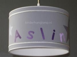 meisjeslamp grijs paars zilver met naam