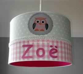 meisjeslamp met naam mintgroen roze fuchsia uiltjes
