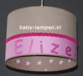 meisjeslamp roze beige witte sterren met naam