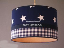 Lamp kinderkamer donkerblauwe sterren en ruitjes