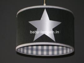 Lamp kinderkamer antraciet grijs 3x zilver ster
