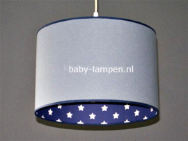 lamp meisjeskamer effen grijs en donkerblauw witte sterren