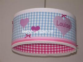 Lamp kinderkamer lichtblauw roze hartjes