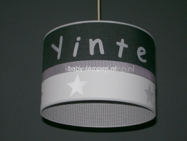 meisjeslamp antraciet wit zilveren sterren en naam