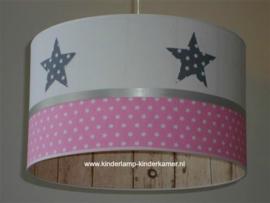 lamp kinderkamer antraciet sterren roze sterren
