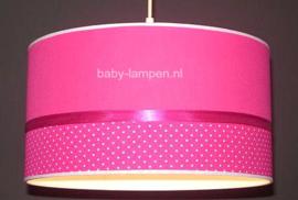 lamp meisjeskamer effen fuchsia en fuchsia stipjes