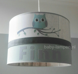 lamp kinderkamer mintgroen uil op tak