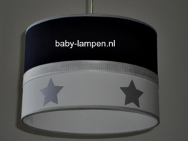 Lamp kinderkamer effen donkerblauw zilver sterren
