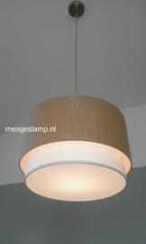 Hanglamp beige jutte en wit