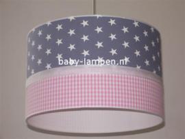 lamp kinderkamer grijze ruit roze ruitje