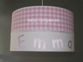 meisjeslamp met naam roze ruitjes
