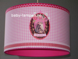 Lamp kinderkamer 3x paarden roze rood ruitje