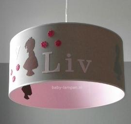 meisjeslamp met naam beige roze bruine poppetjes en bloemetjes
