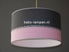 lamp meisjeskamer antraciet roze ruitje