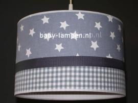 Lamp kinderkamer grijze ster en ruit