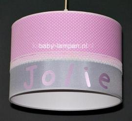 meisjeslamp met naam roze stipje en zilver