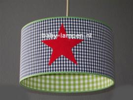 Lamp kinderkamer blauw limegroen 3x rode ster