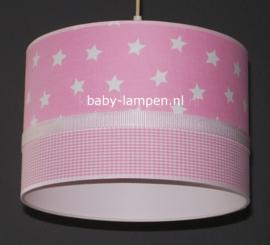 lamp meisjeskamer roze ruitje en sterren