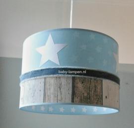 Lamp kinderkamer lichtblauw wit steigerhout
