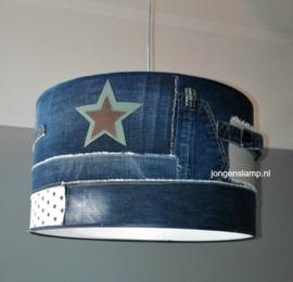 Stoere lamp kinderkamer jeans en leer
