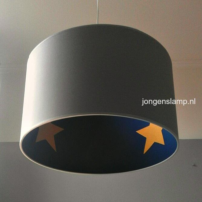 kinderlamp grijs blauw gele sterren