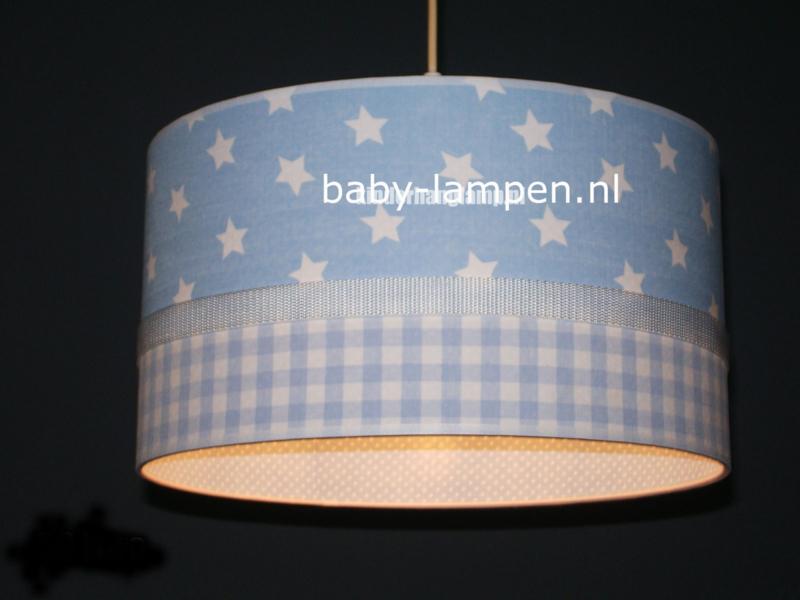 lamp kinderkamer lichtblauwe sterren en ruitjes