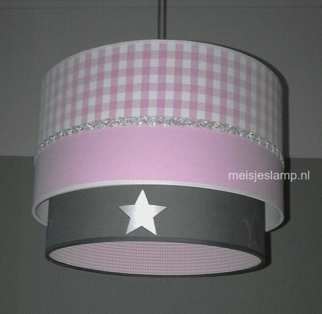 kinderhanglamp roze grijs sterren