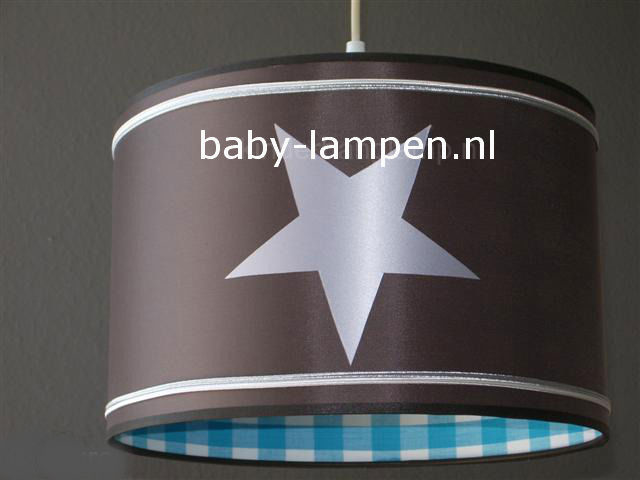 Lamp kinderkamer taupe 3x zilver ster blauw ruitje