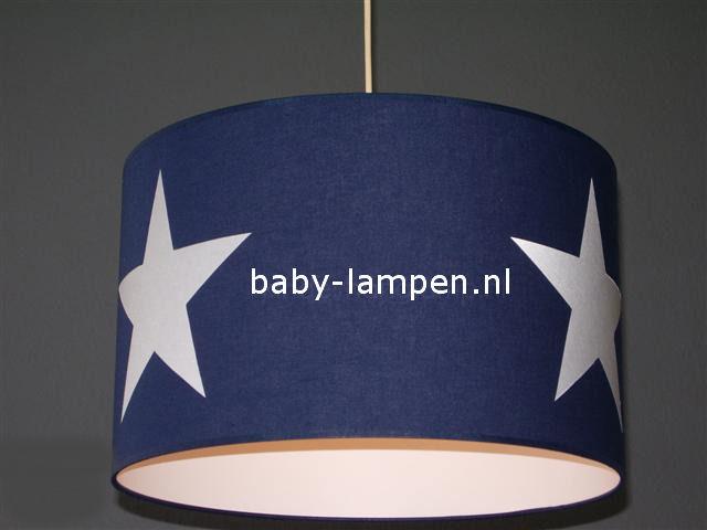 Lamp kinderkamer donkerblauw  3x witte ster