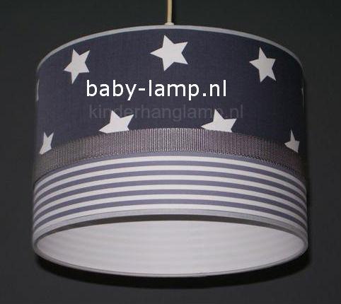 Lamp kinderkamer antraciet sterren  grijs streepje