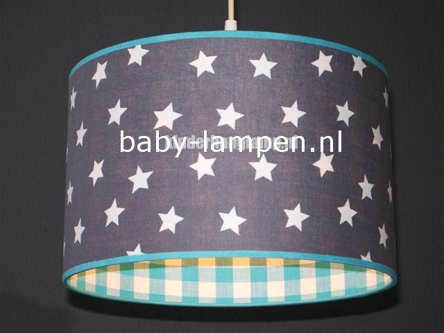 Lamp kinderkamer grijs sterren blauwe ruit