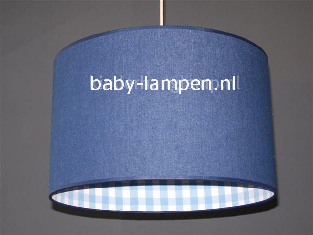 Lamp kinderkamer jeans lichtblauwe ruit