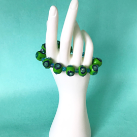 Armband handgemaakte kralen  groen/blauw