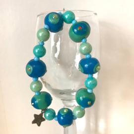 Armband handgemaakte kralen blauwtinten