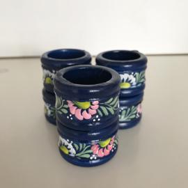 Set van 6 handbeschilderde servetringen