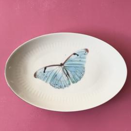 Ovale schotel blauwe vlinder